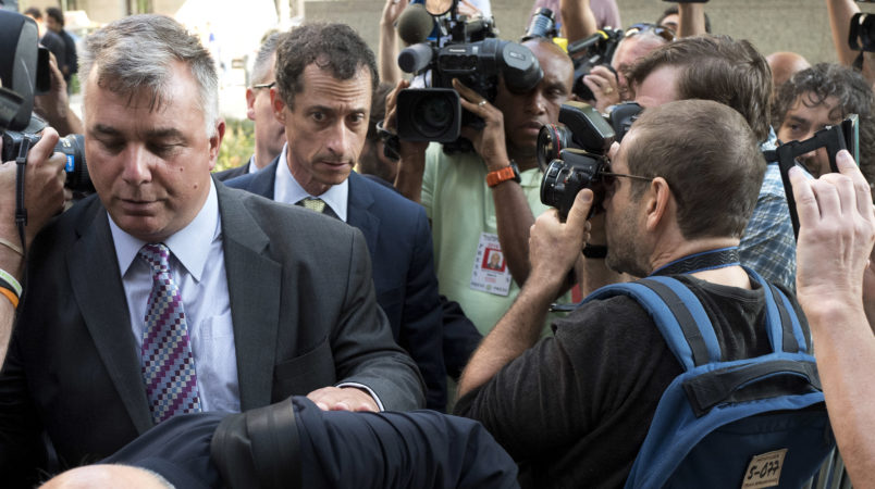 Former Congressman Anthony Weiner (D-N.Y.) arrives at federal court for his sentencing hearing, Monday, Sept. 25, 2017, in New York. (AP Photo/Mark Lennihan)