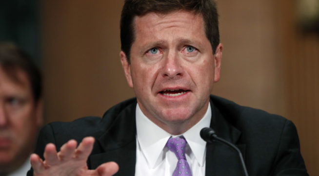 Securities and Exchange Commission (SEC) chairman testifies before the Senate Banking Committee on Capitol Hill in Washington, Tuesday, Sept. 26, 2017. (AP Photo/Pablo Martinez Monsivais)