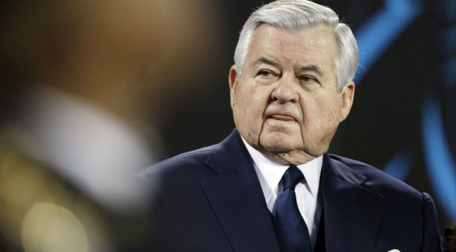 Carolina Panthers owner Jerry Richardson watches before the NFL football NFC Championship game against the Arizona Cardinals, Sunday, Jan. 24, 2016, in Charlotte, N.C. (AP Photo/Bob Leverone)
