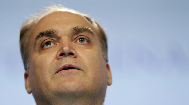 """Russia's Deputy Minister of Defense, Anatoly Antonov, delivers his speech about """"Pursuing Common Security Objectives"""" at the 15th International Institute for Strategic Studies Shangri-la Dialogue, or IISS, Asia Security Summit on Sunday, June 5, 2016, in Singapore. (AP Photo/Wong Maye-E)"""