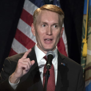 Oklahoma Republican Senator James Lankford talks to supporters during the Republican watch party in Oklahoma City, Tuesday, Nov. 8, 2016. (AP Photo/J Pat Carter)
