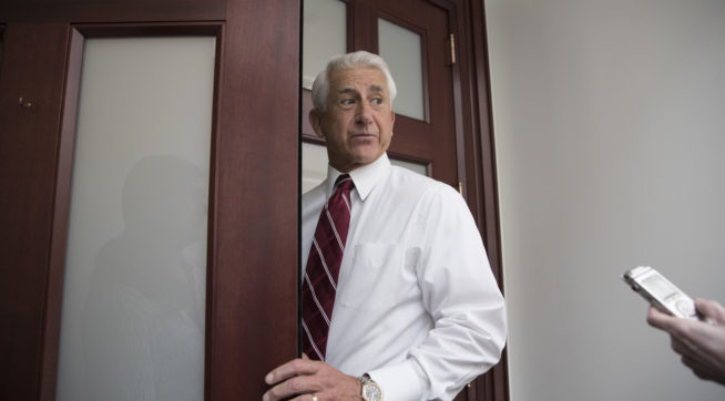 Rep. Dave Reichert, R-Wash., arrives for a House Republican Conference meeting on Capitol Hill in Washington, Friday, July 28, 2017. Dealing a serious blow to President Donald Trump's agenda, the Senate early Friday rejected a measure to repeal parts of former President Barack Obama's health care law after a night of high suspense in the U.S. Capitol.  (AP Photo/J. Scott Applewhite)