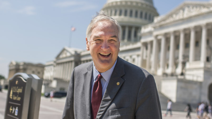 UNITED STATES - AUGUST 02: Sen. Luther Strange, R-Ala., talks with a reporters on the East Front of the Capitol on August 2, 2017. (Photo By Tom Williams/CQ Roll Call)