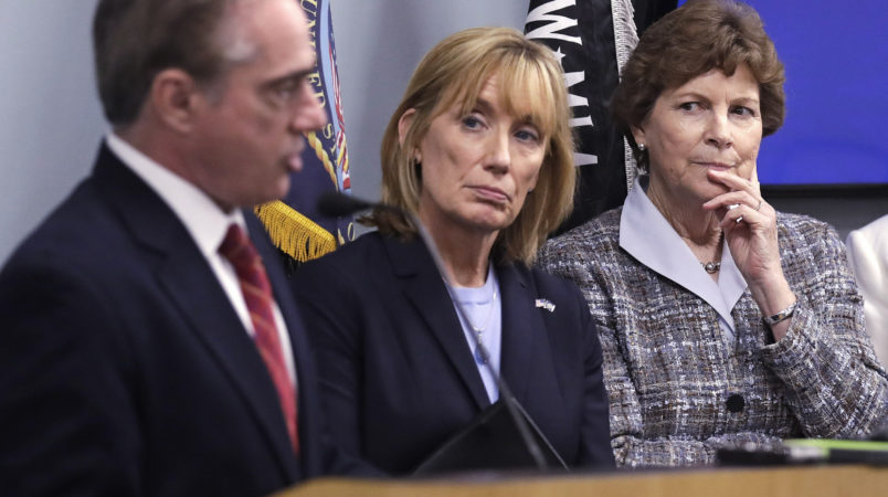 U.S. Sen. Jeanne Shaheen, D-N.H., right, and U.S. Sen. Maggie Hassan, D-N.H., center, listen to Secretary of Veterans Affairs David J. Shulkin, left, during a visit to the Veterans Administration Medical Center in, Manchester, N.H., Friday, Aug. 4, 2017. Shulkin earlier met privately with doctors at the center, who have alleged substandard care at New Hampshire's only hospital for veterans. (AP Photo/Charles Krupa)