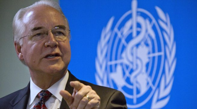 "U.S. Health and Human Services Secretary Tom Price speaks during an event titled ""The Next Pandemic"" at the World Health Organization office in Beijing, China, Monday, Aug. 21, 2017.  Price says China has been an ""incredible partner"" in cracking down on synthetic opioids seen as fueling fast-rising overdose deaths in the United States(AP Photo/Ng Han Guan)"
