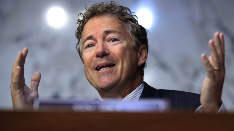 Senate Health, Education, Labor, and Pensions Committee member Sen. Rand Paul, R-Ky., questions state insurance commissioners during a hearing on the individual health insurance market for 2018 on Capitol Hill in Washington, Wednesday, Sept. 6, 2017.   (AP Photo/Manuel Balce Ceneta)