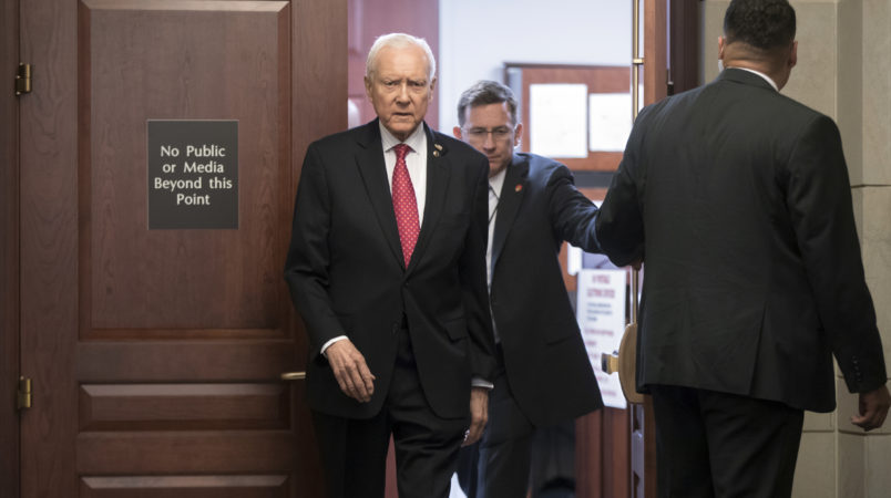 Sen. Orrin Hatch, R-Utah, president pro tempore of the Senate, arrives in a secure area as Donald Trump Jr., is interviewed behind closed doors by Senate Judiciary Committee staff investigating the meddling and possible Russian links to President Donald Trump's 2016 presidential campaign, at the Capitol in Washington, Thursday, Sept. 7, 2017. Sen. Hatch is a senior member of the Judiciary Committee. Trump Jr. released a series of emails in July that detailed preparations for a June 2016 meeting with a Russian lawyer and others where he was expecting to get damaging information about Democratic candidate Hillary Clinton.   (AP Photo/J. Scott Applewhite)