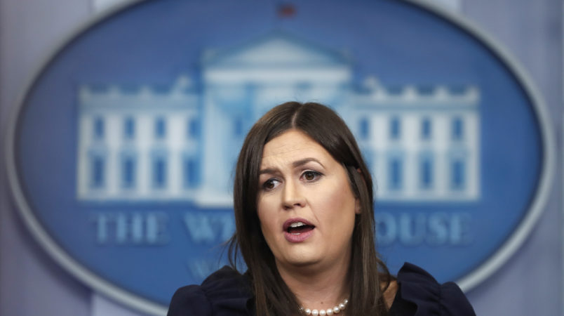 White House press secretary Sarah Huckabee Sanders speaks during the daily news briefing at the White House, in Washington, Friday, Sept. 8, 2017. Huckabee Sanders discussed Hurricane Irma and other topics. (AP Photo/Carolyn Kaster)