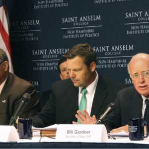 New Hampshire Secretary of State Bill Gardner, right, introduces one of the speakers at a meeting of the Presidential Advisory Commission on Election Integrity on Tuesday, Sept. 12, 2017 in Manchester, NH. Kansas Secretary of State Kris Kobach, center, and former Ohio Secretary of State Ken Blackwell, left, also attend. Gardner opened the meeting by defending his participation and the panel's existence, saying it hasn't yet reached any conclusion. (AP Photo/Holly Ramer)