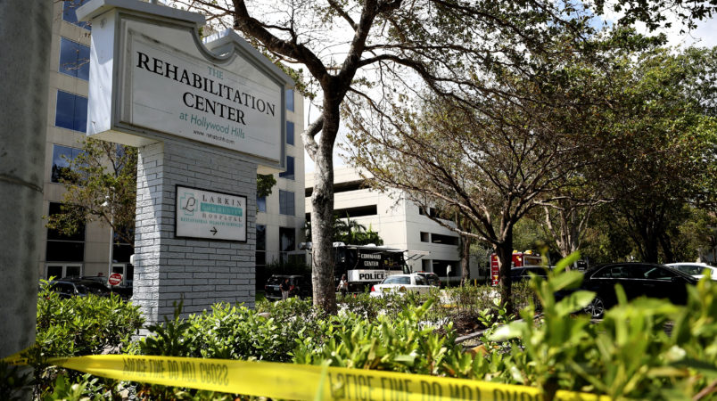 Police surround the Rehabilitation Center at Hollywood Hills, which had no air conditioning after Hurricane Irma knocked out power. Three people died at the center and three others later died at Memorial Regional Hospital. John McCall, South Florida Sun-Sentinel...SOUTH FLORIDA OUT; NO MAGS; NO SALES; NO INTERNET; NO TV...