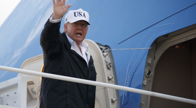 President Donald Trump waves as he boards Air Force One for a trip to Florida to meet with first responders and people impacted by Hurricane Irma, Thursday, Sept. 14, 2017, in Andrews Air Force Base, Md. (AP Photo/Evan Vucci)