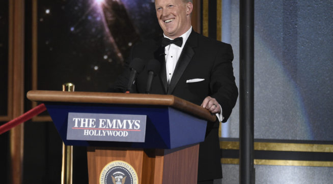 Sean Spicer helps Stephen Colbert mock Trump at the Emmys