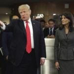 President Donald Trump, accompanied by U.S. Ambassador Nikki Haley arrives at the United Nations, Monday, Sept. 18, 2017. (AP Photo/Richard Drew)