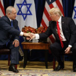 President Donald Trump meets with Israeli Prime Minister Benjamin Netanyahu at the Palace Hotel during the United Nations General Assembly, Monday, Sept. 18, 2017, in New York. (AP Photo/Evan Vucci)