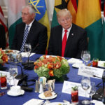 Secretary of State Rex Tillerson, President Donald Trump, and White House chief of staff John Kelly listen as Trump is introduced during a luncheon with African leaders at the Palace Hotel during the United Nations General Assembly, Wednesday, Sept. 20, 2017, in New York. (AP Photo/Evan Vucci)