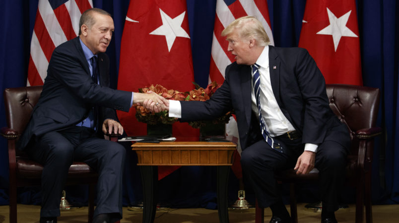 President Donald Trump meets with Turkish President Recep Tayyip Erdogan at the Palace Hotel during the United Nations General Assembly, Thursday, Sept. 21, 2017, in New York. (AP Photo/Evan Vucci)