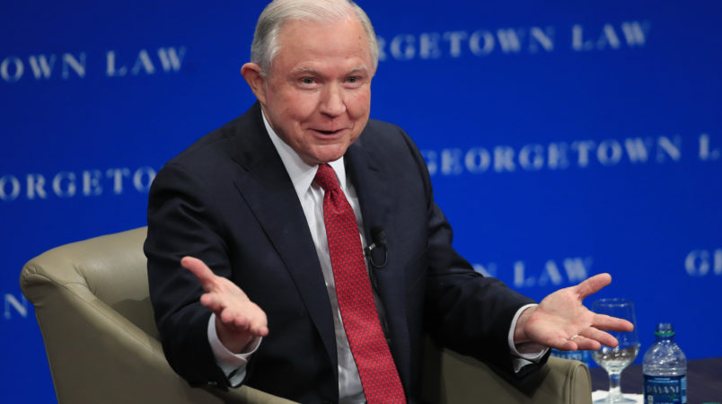 Attorney General Jeff Sessions speaks about free speech at the Georgetown University Law Center in Washington, Tuesday, Sept. 26, 2017.   (AP Photo/Manuel Balce Ceneta