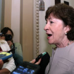 Sen. Susan Collins, R-Maine, speaks with reporters before heading into a policy luncheon, on Capitol Hill, Tuesday, Sept. 19, 2017 in Washington. (AP Photo/Alex Brandon)
