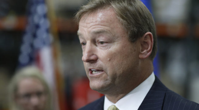 Sen. Dean Heller, R-Nev., speaks at a news conference Monday, Aug. 28, 2017, in Las Vegas. (AP Photo/John Locher)