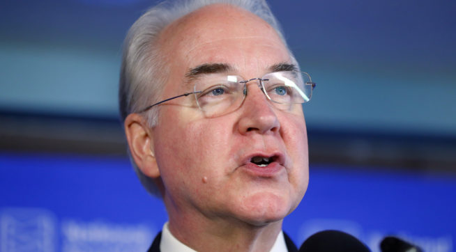 Embattled health secretary Price boasts of Trump's support
