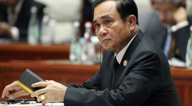 Thailand's Prime Minister Prayuth Chan-ocha attends the Dialogue of Emerging Market and Developing Countries on the sidelines of the BRICS Summit in Xiamen, China, Tuesday, Sept. 5, 2017. (Wu Hong/Pool Photo via AP)