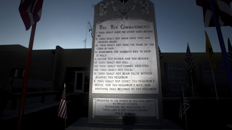 The Bloomfield Ten Commandments is pictured, Thursday, Nov. 10, 2016 at Bloomfield City Hall.