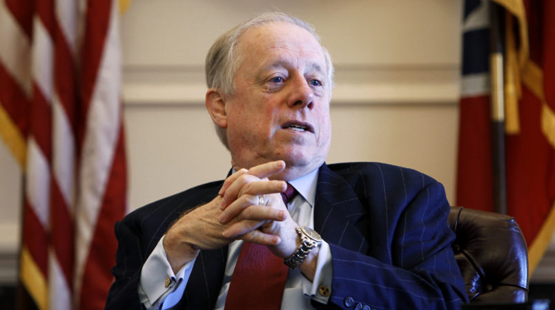 Gov. Phil Bredesen talks about his eight years in office during an interview on Monday, Dec. 13, 2010, in Nashville, Tenn. Bredesen says his administration's work with Republican Gov.-elect Bill Haslam stands in contrast with his own experience coming into office eight years ago. (AP Photo/Mark Humphrey)