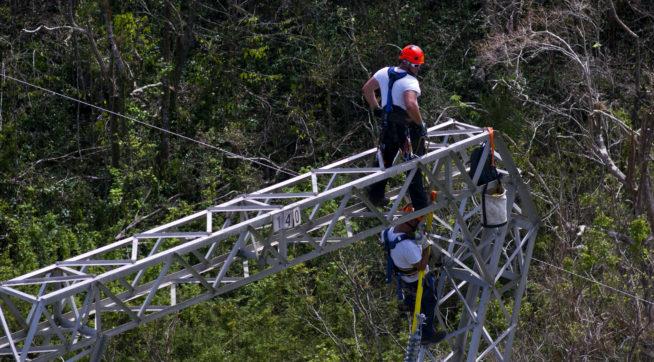 Whitefish Energy workers work on power line towers in Barceloneta, Puerto Rico, Sunday, Oct. 15, 2017.(AP Photo/Ramon Espinosa)