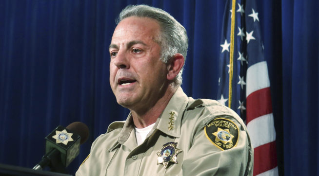 Clark County Sheriff Joe Lombardo announces at the Las Vegas Police headquarters that officer Kenneth Lopera will be prosecuted for the in-custody death of Tashii Brown, Monday, June 5, 2017.  Elizabeth Brumley/Las Vegas Review-Journal