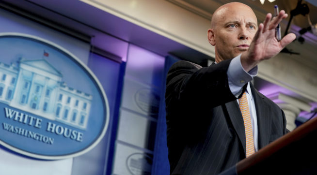 White House legislative director Marc Short talks to the media about the GOP Senate healthcare bill during the daily press briefing at the White House, Wednesday, July 19, 2017, in Washington. (AP Photo/Andrew Harnik)