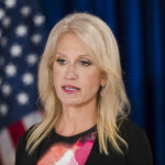 Counselor to the President Kellyanne Conway during a news conference in Trenton, N.J., Monday, Sept. 18, 2017.  (AP Photo/Matt Rourke)