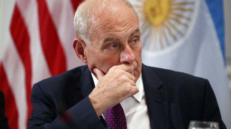 White House chief of staff John Kelly listens as President Donald Trump speaks during a dinner with Latin American leaders at the Palace Hotel during the United Nations General Assembly, Monday, Sept. 18, 2017, in New York. (AP Photo/Evan Vucci)