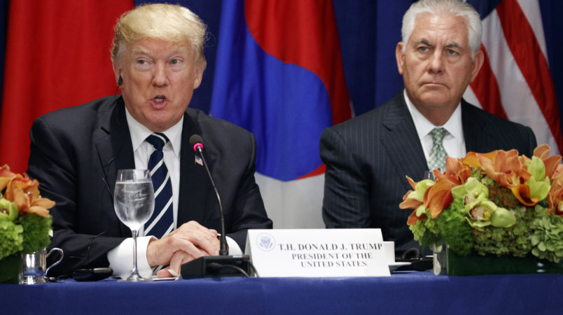 Secretary of State Rex Tillerson looks on as President Donald Trump speaks at a luncheon with South Korean President Moon Jae-in and Japanese Prime Minister Shinzo Abe, at the Palace Hotel during the United Nations General Assembly, Thursday, Sept. 21, 2017, in New York. (AP Photo/Evan Vucci)