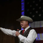 Former Alabama Chief Justice and U.S. Senate candidate Roy Moore speaks at a rally, Monday, Sept. 25, 2017, in Fairhope, Ala. (AP Photo/Brynn Anderson)