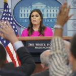 White House press secretary Sarah Huckabee Sanders speaks to the media during the daily briefing in the Brady Press Briefing Room of the White House, Wednesday, Oct. 11, 2017. (AP Photo/Pablo Martinez Monsivais)