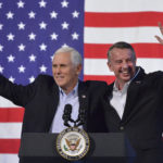 United States Vice President Mike Pence joins Virginia Republican gubernatorial candidate Ed Gillespie onstage during a party rally Saturday evening at the Washington County Fairgrounds in Abingdon. (AP Photo, Andre Teague/Bristol Herald Courier)