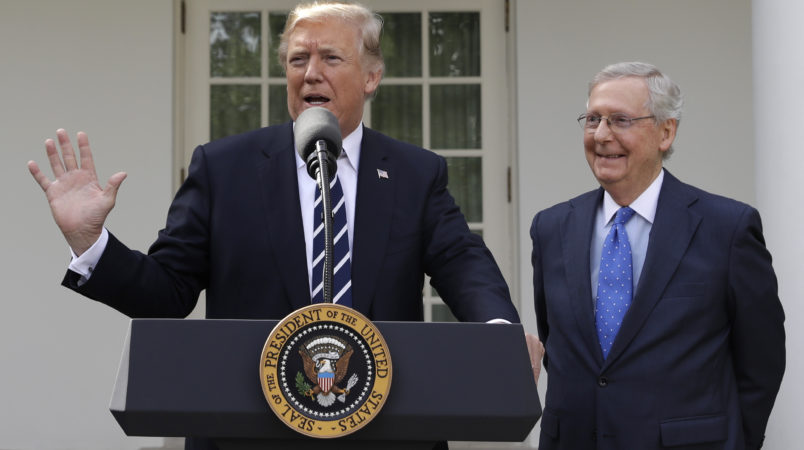 President Donald Trump meets with Senate Majority Leader Mitch McConnell, R-Ky., at the White House, Monday, Oct. 16, 2017, in Washington. (AP Photo/Evan Vucci)