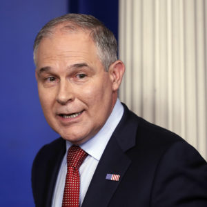 EPA Administrator Scott Pruitt looks back after speaking to the media during the daily briefing in the Brady Press Briefing Room of the White House in Washington, Friday, June 2, 2017. (AP Photo/Pablo Martinez Monsivais)