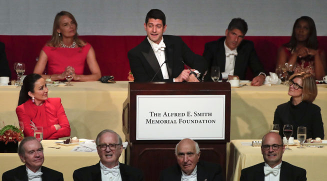 Speaker of the House Paul Ryan speaks during the 72nd Annual Alfred E. Smith Memorial Foundation dinner, Thursday, Oct. 19, 2017, in New York. (AP Photo/Julie Jacobson)
