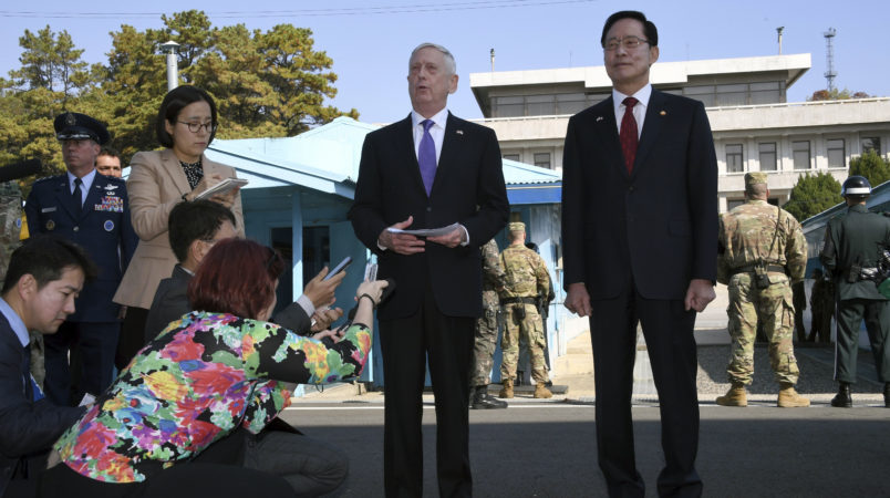 US Secretary of Defence Jim Mattis (C) speaks to the media as South Korean Defence Minister Song Young-Moo (R) looks on during a visit to the truce village of Panmunjom in the Demilitarized Zone (DMZ) on the border between North and South Korea on October 27, 2017. / AFP PHOTO / POOL / JUNG Yeon-Je /// DQpoaSB0aGVyZQ0KSGVyZSBpcyAxc3QgcGhvdG8gb2YgdG90YWwgOCBwb29sIHBpeCBmcm9tIEFGUCBTZW91bA0KDQpVUyBTZWNyZXRhcnkgb2YgRGVmZW5jZSBKaW0gTWF0dGlzIChDKSBzcGVha3MgdG8gdGhlIG1lZGlhIGFzIFNvdXRoIEtvcmVhbiBEZWZlbmNlIE1pbmlzdGVyIFNvbmcgWW91bmctTW9vIChSKSBsb29rcyBvbiBkdXJpbmcgYSB2aXNpdCB0byB0aGUgdHJ1Y2UgdmlsbGFnZSBvZiBQYW5tdW5qb20gaW4gdGhlIERlbWlsaXRhcml6ZWQgWm9uZSAoRE1aKSBvbiB0aGUgYm9yZGVyIGJldHdlZW4gTm9ydGggYW5kIFNvdXRoIEtvcmVhIG9uIE9jdG9iZXIgMjcsIDIwMTcuIC8gQUZQIFBIT1RPIC8gUE9PTCAvIEpVTkcgWWVvbi1KZQ0KDQpDaGVlcnMsIEpVTkcNCg0KSlVORyBZZW9uLUplDQpBRlAgUGhvdG9ncmFwaGVyDQoxOEYgS3lvYm8gQnVpbGRpbmcsIEpvbmdybyAxLWdhLCBKb25ncm8tZ3UsDQpTZW91bCwgMTEwLTcxNCwgU291dGggS29yZWENCg0KVGVsIDogKzgyIDIgMzcwMyAzODEwDQpGYXggOiArODIgMiA3MzcgNjU5OA0KTW9iaWxlIDogKzgyIDEwIDU2NjggNTY2OA0KDQo=