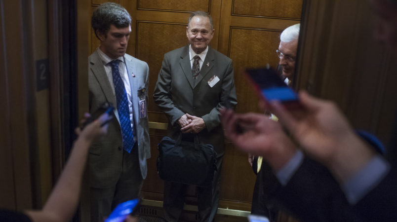 UNITED STATES - OCTOBER 31: Alabama Republican Senate nominee Roy Moore is questioned by the media in the Capitol on October 31, 2017.  (Photo By Tom Williams/CQ Roll Call)