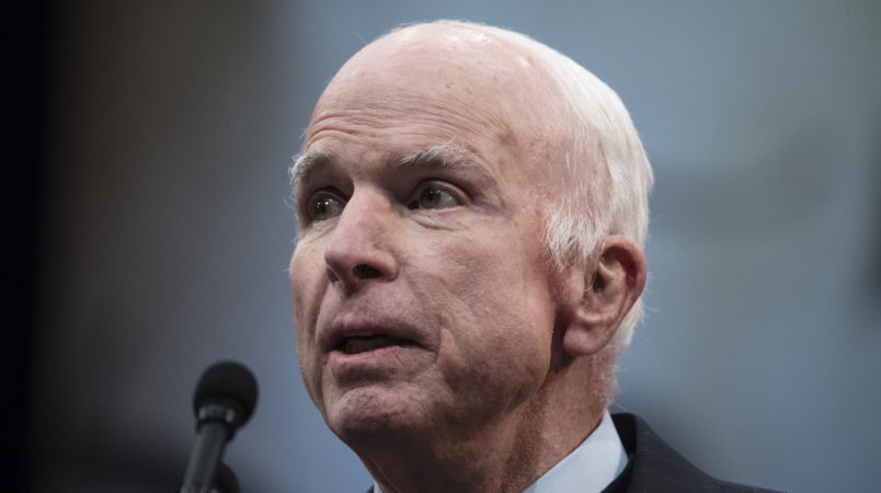 Sen. John McCain, R-Ariz., speaks after he received the Liberty Medal from the National Constitution Center in Philadelphia, Monday, Oct. 16, 2017. The honor is given annually to an individual who displays courage and conviction while striving to secure liberty for people worldwide. (AP Photo/Matt Rourke)