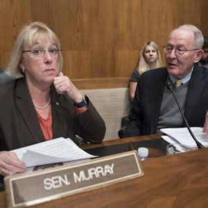 """Sen. Patty Murray, D-Wash., the ranking member, and Sen. Lamar Alexander, R-Tenn., chairman of the Senate Health, Education, Labor, and Pensions Committee, meet before the start of a hearing on Capitol Hill in Washington, Wednesday, Oct. 18, 2017, the morning after they reached a deal to resume federal payments to health insurers that President Donald Trump had halted. Sen. Alexander says Trump called him Wednesday morning """"to be encouraging"""" of bipartisan efforts to come up with a plan to stabilize health insurance premiums.   (AP Photo/J. Scott Applewhite)"""