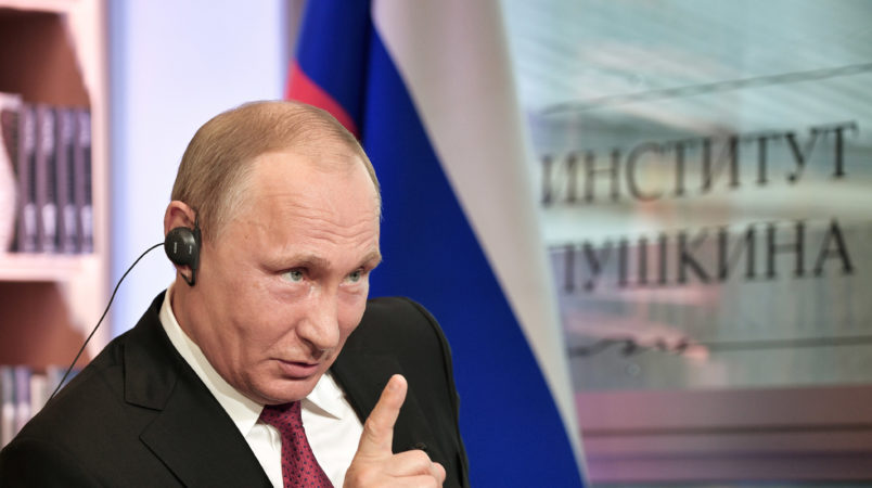 In this photo released by Sputnik news agency on Wednesday, May 31, 2017 Russian President Vladimir Putin speaks during an interview in Paris, France, Monday, May 29, 2017. In the interview with French newspaper Le Figaro released Tuesday, Putin reaffirmed his strong denial of Russia's involvement in the hacking of Democratic National Committee emails that yielded disclosures that proved embarrassing for Hillary Clinton's campaign. (Alexei Nikolsky/Sputnik, Kremlin Pool Photo via AP)