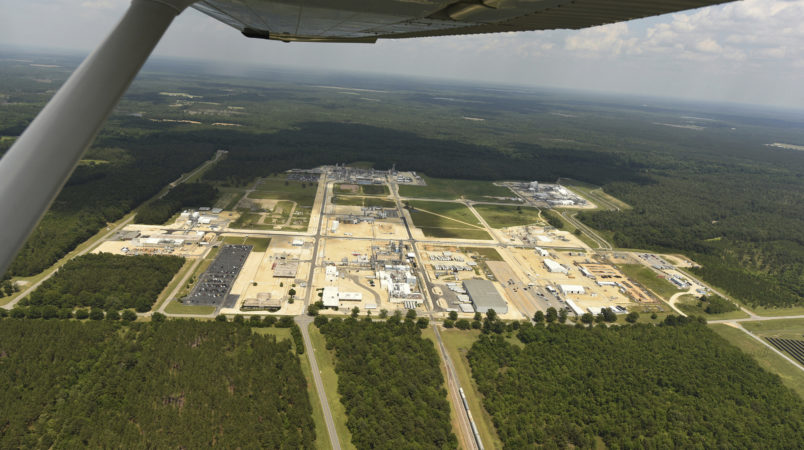 Aerial view of Fayetteville works on Wednesday June 15, 2017. the area is a sprawling, 2,150-acre manufacturing site along the Cape Fear River about 100 miles upstream from Wilmington. Three companies have operations there -- Chemours, DuPont and Kuraray America. (Ken Blevins/The Star-News via AP)