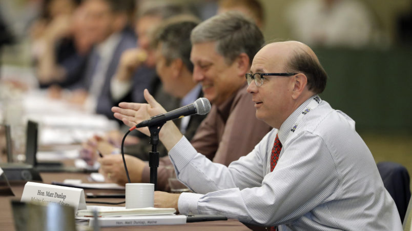 Maine Secretary of State Matt Dunlap speaks during a voter registration meeting at the National Association of Secretaries of State conference Saturday, July 8, 2017, in Indianapolis. (AP Photo/Darron Cummings)