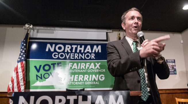 Lt. Gov. Ralph Northam, Democratic candidate for governor, fires up the crowd at a Democratic Party victory rally in downtown Harrisonburg, Va., Monday, Oct. 30, 2017, as part of his campaign.(AP Photo/Daily News-Record, Daniel Lin)