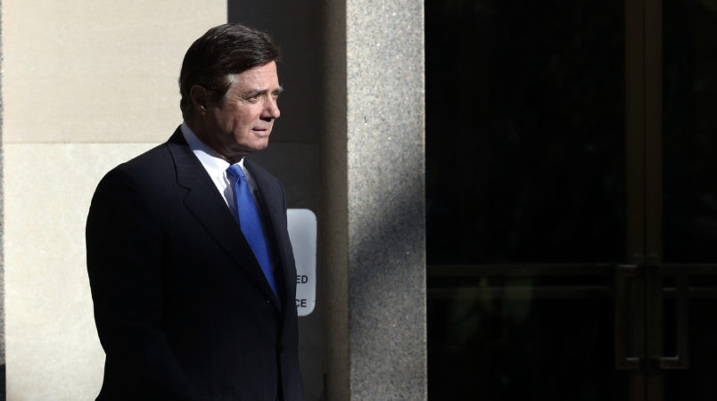 Paul Manafort walks from Federal District Court in Washington, Monday, Oct. 30, 2017. Manafort, President Donald Trump's former campaign chairman, and Manafort's business associate Rick Gates pleaded not guilty to felony charges of conspiracy against the United States and other counts. (AP Photo/Alex Brandon)