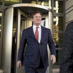 Paul Manafort, President Donald Trump's former campaign chairman, departs Federal District Court, Thursday, Nov. 2, 2017, in Washington. (AP Photo/Andrew Harnik)