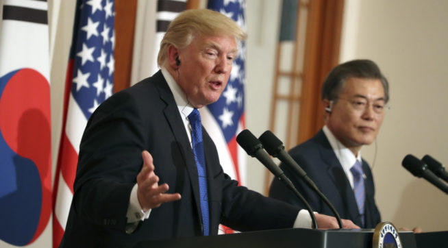 President Donald Trump and South Korean President Moon Jae-in participate in a joint news conference at the Blue House in Seoul, South Korea, Tuesday, November 7, 2017. Trump is on a five country trip through Asia traveling to Japan, South Korea, China, Vietnam and the Philippines. (AP Photo/Andrew Harnik)